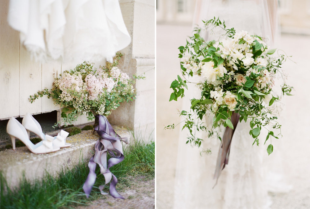 Wedding details - a bouquet tied with lilac ribbon, white heels; Sylvie Gil Photography