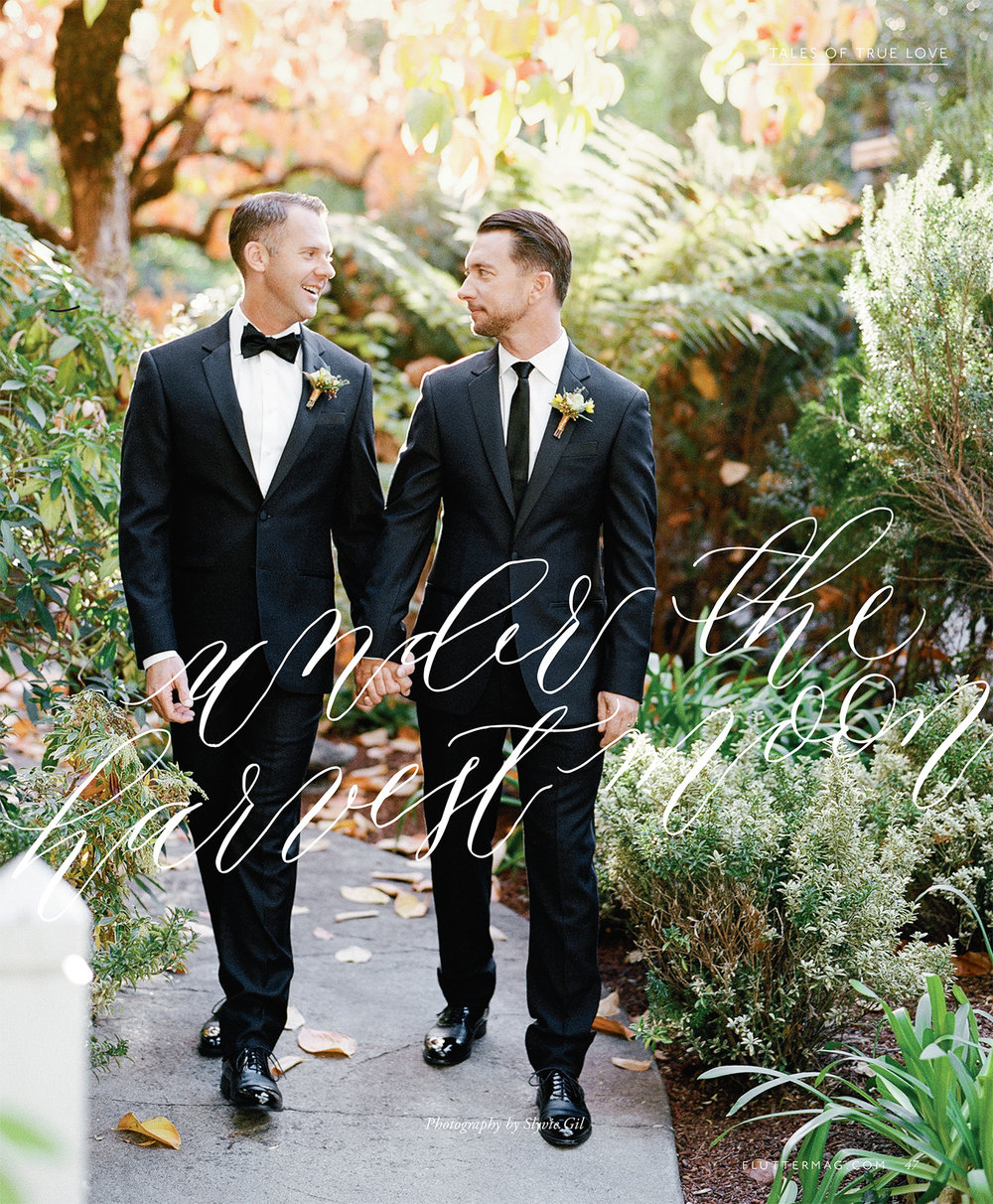 Chris & Andrew's feature cover in Flutter Magazine Issue 11; Sylvie Gil Photography