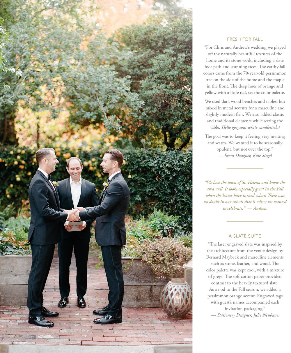 Chris & Andrew's St. Helena ceremony, featured in Flutter Magazine; Sylvie Gil Photography