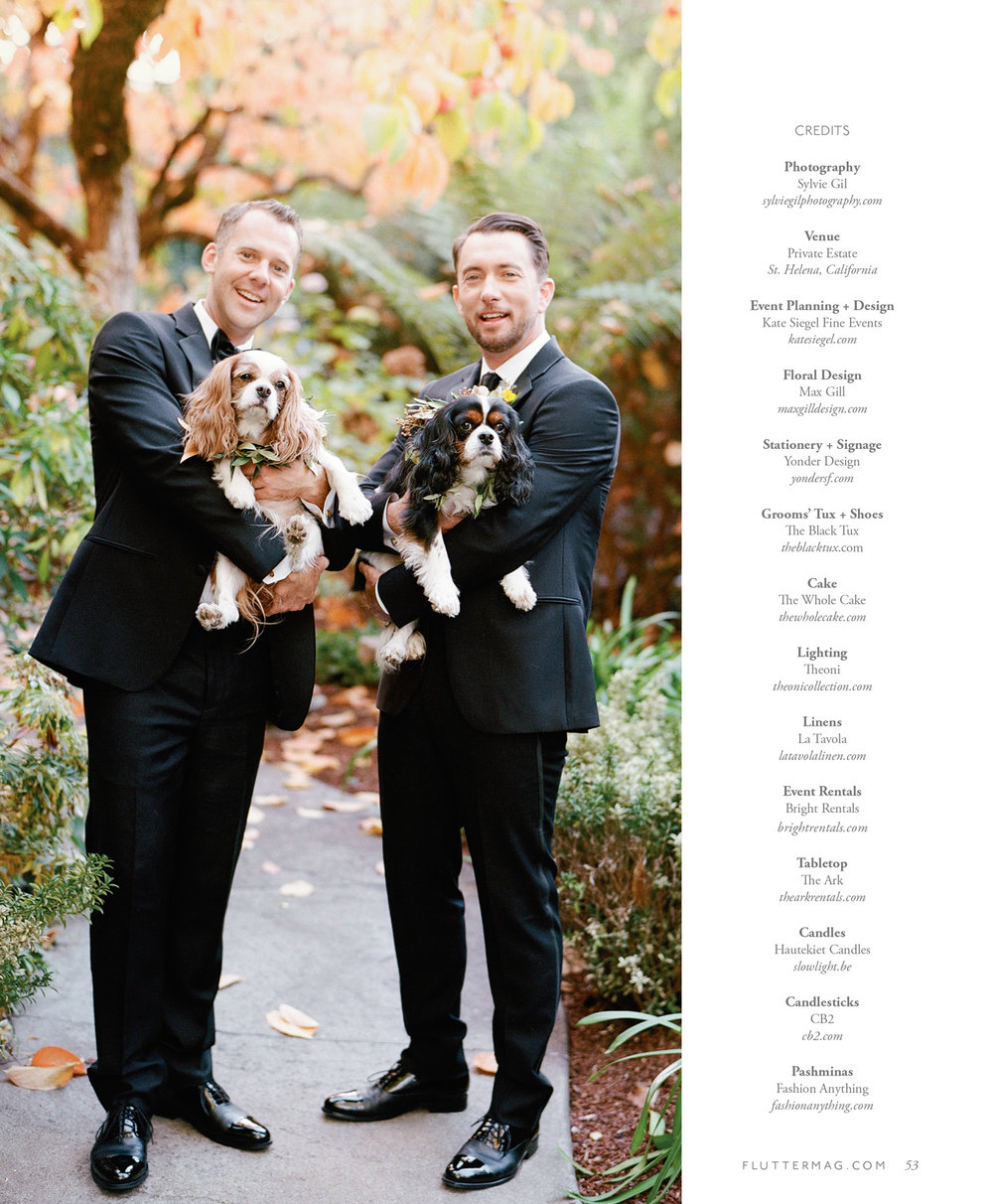 Chris & Andrew with their King Charles spaniels in Flutter Magazine; Sylvie Gil Photography