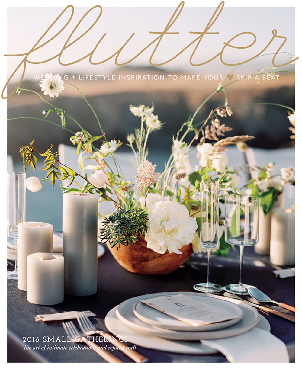 Flutter Magazine Issue 11 cover, featuring Chris & Andrew's St. Helena wedding, photographed by Sylvie Gil