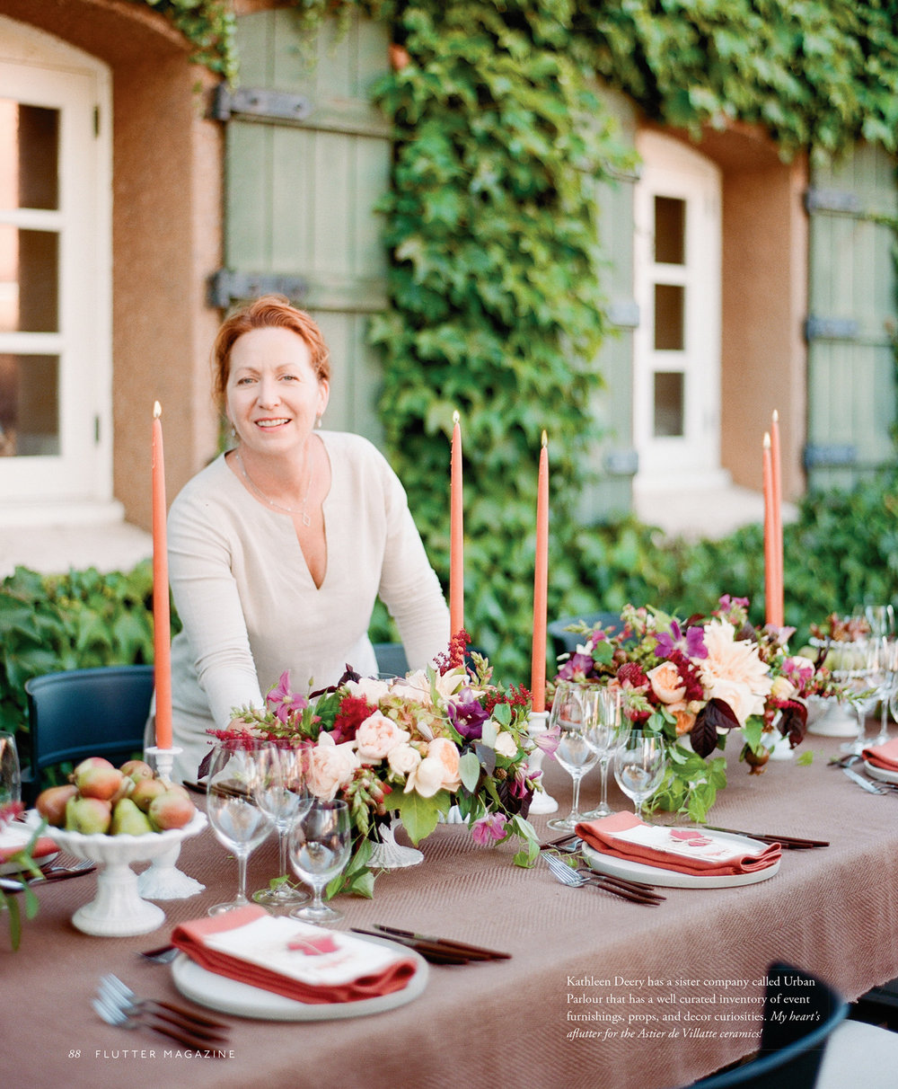 Kathleen Deery at table styled for Flutter Magazine; Sylvie Gil Photography