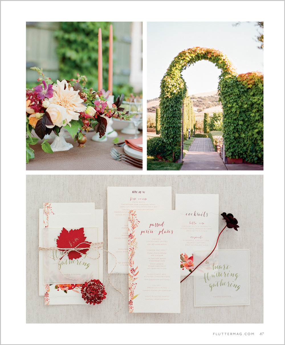 Pomegranate centerpieces and floral calligraphed invitation suite in Flutter Magazine; Sylvie Gil Photography