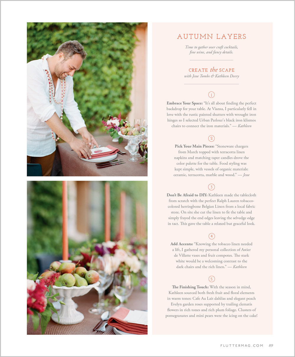 Entertaining tips for a style shoot in Flutter Magazine Issue 11, Sylvie Gil Photography