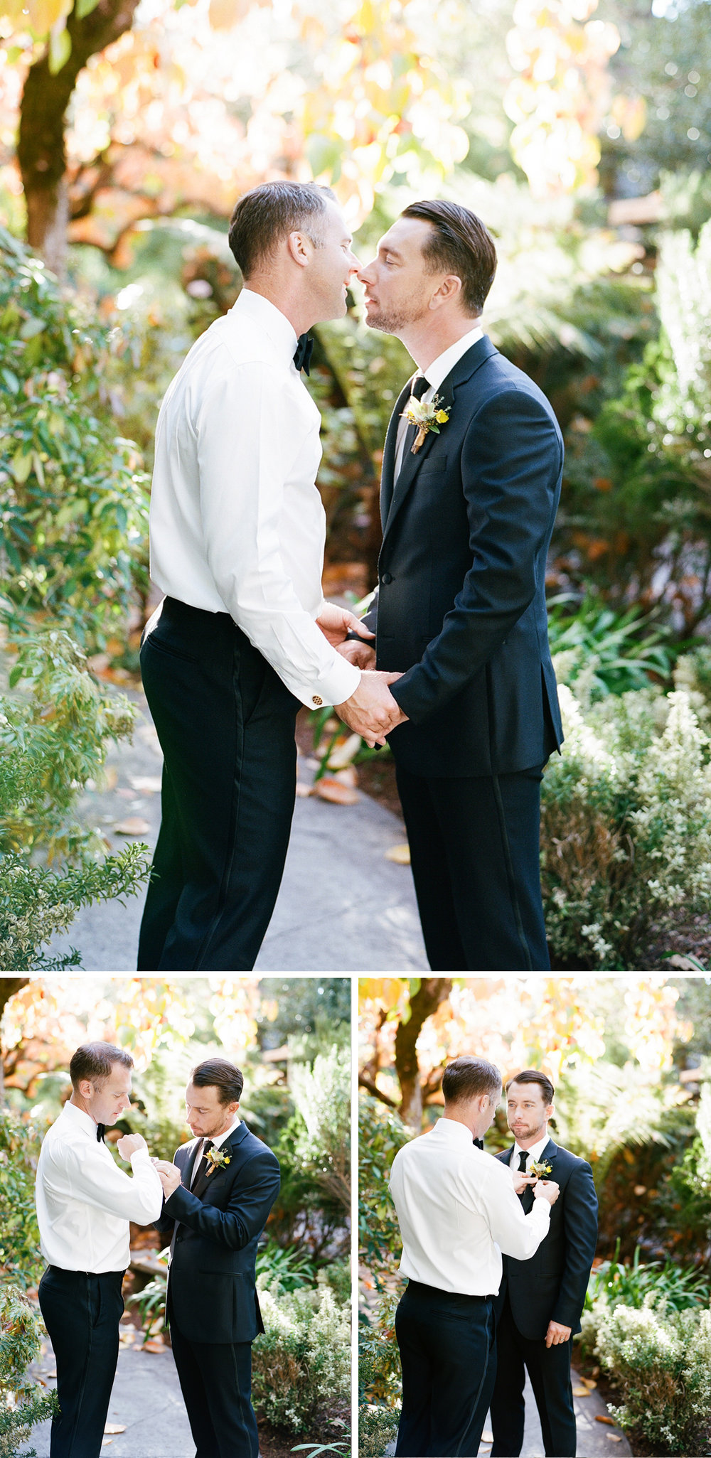 Chris and Andrew help each other get ready for the ceremony, share a kiss; Sylvie Gil Photography