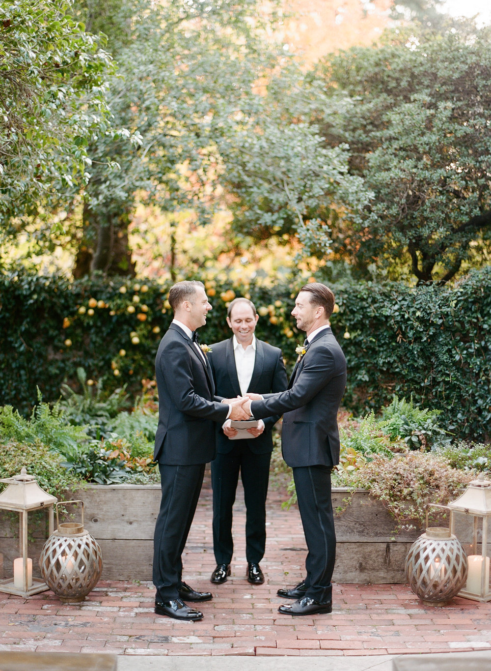 Chris and Andrew say their vows during the St. Helena wedding ceremony; Sylvie Gil Photography