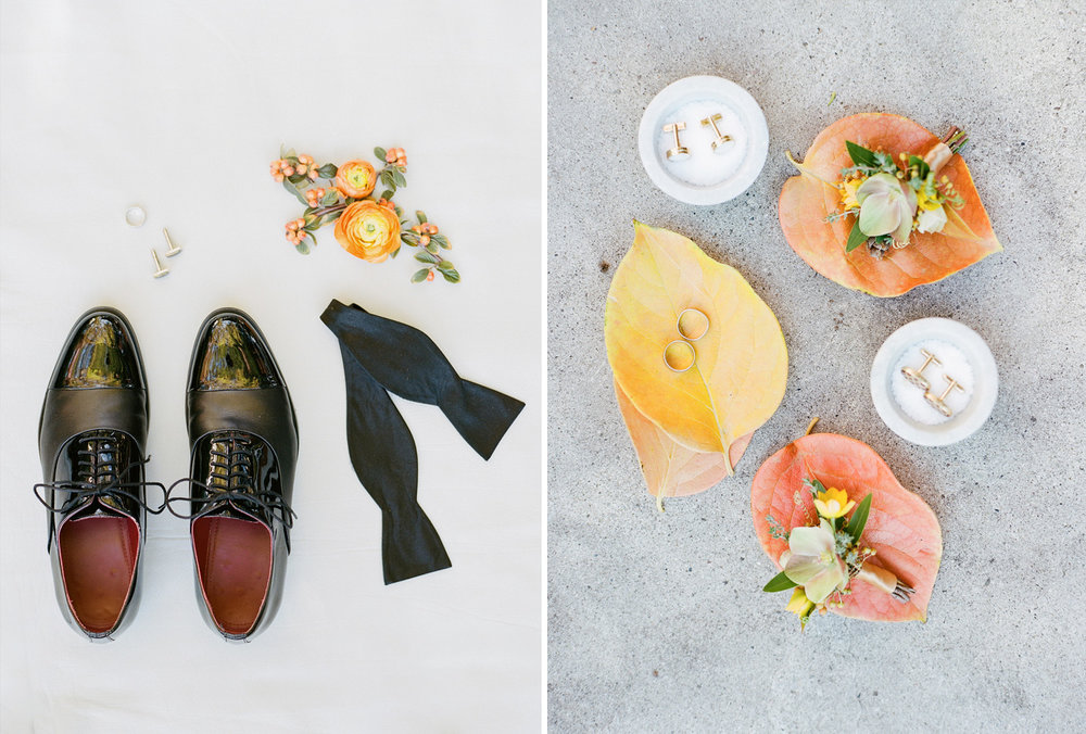 Groom's shoes, bowtie, rings cufflinks, and boutonnieres; Sylvie Gil Photography