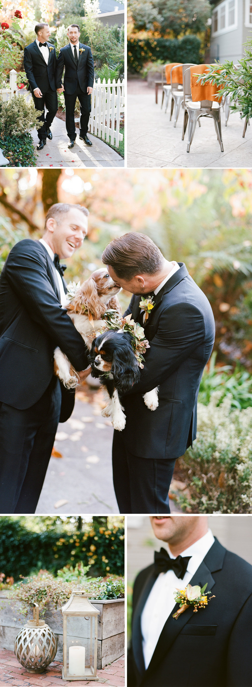Grooms hold the King Charles spaniels, persimmon-studded Max Gill florals; Sylvie Gil Photography