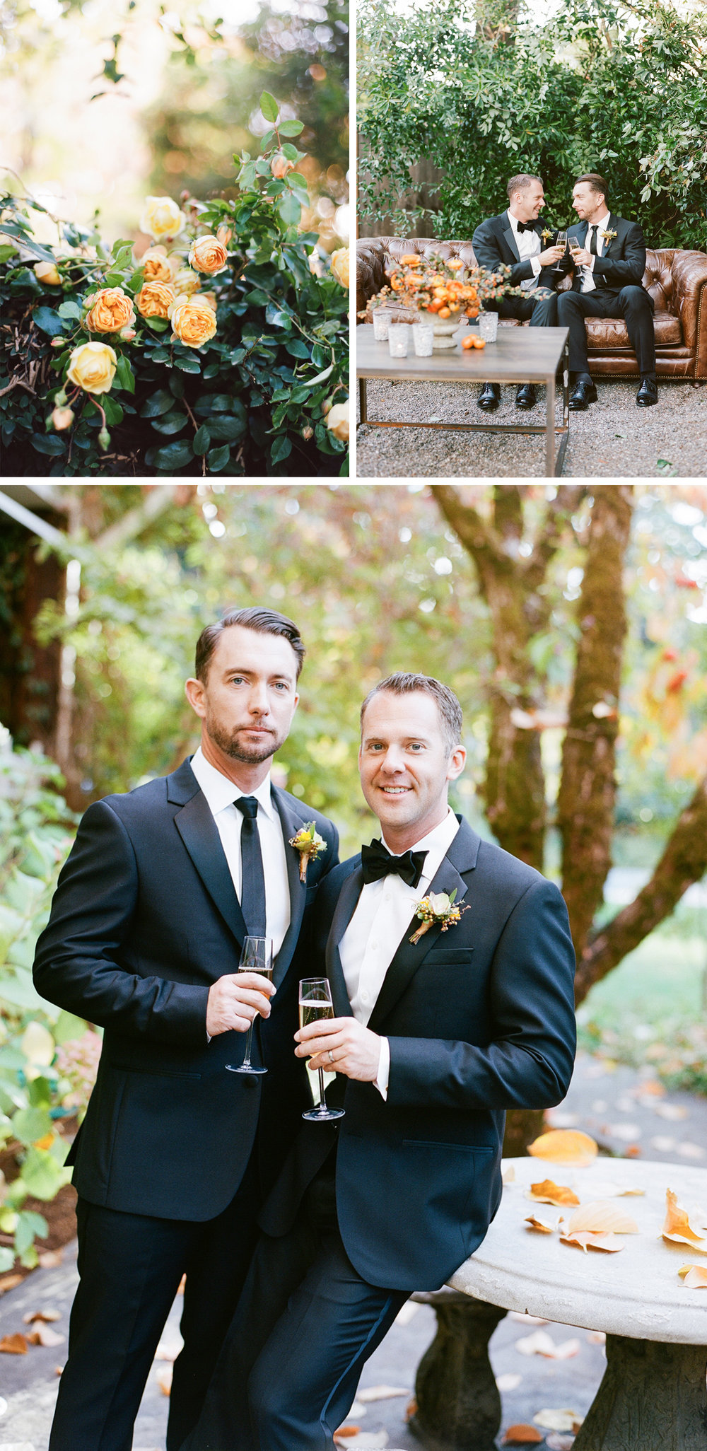 Yellow-orange floral details, grooms toast with champagne; Sylvie Gil Photography