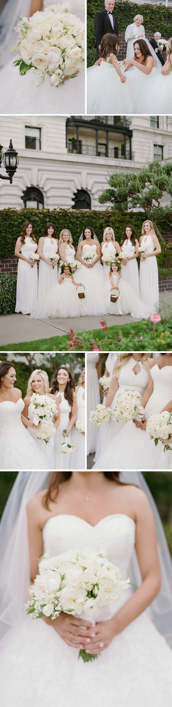 Bouquets and bridal party, dressed all in white, the bride bends to chat with her darling flower girls; photo by Sylvie Gil