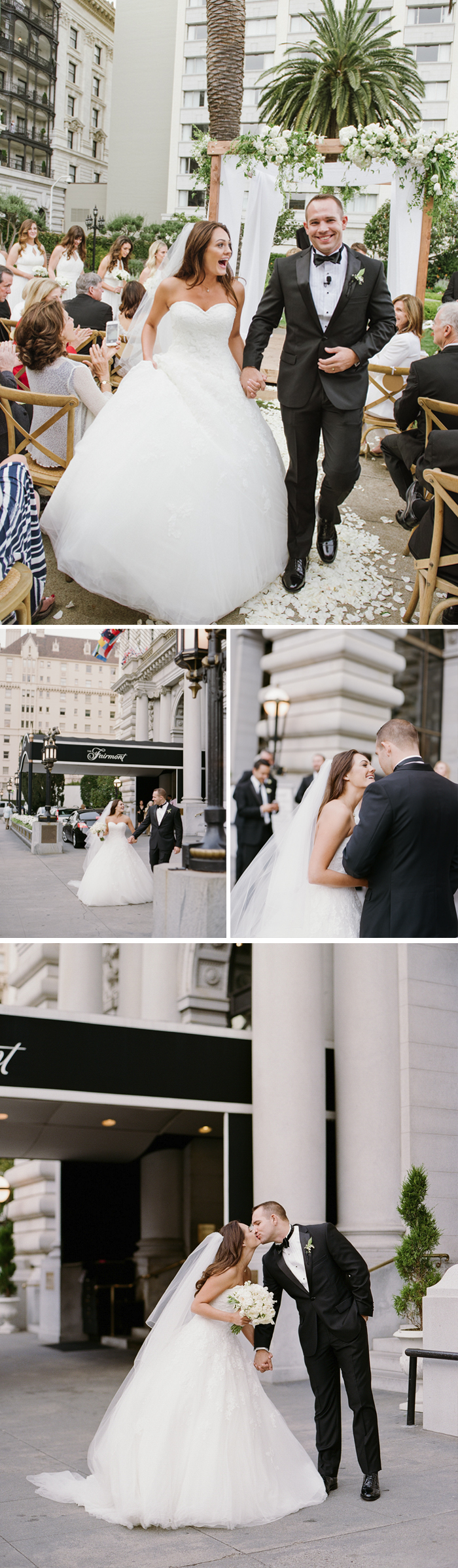 Just married, Meg & Ben walk up the aisle lined with clapping guests, and share a kiss outside the Fairmont Hotel, San Francisco; photo by Sylvie Gil