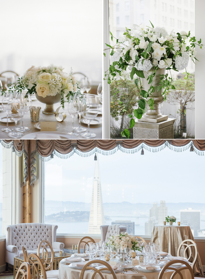 Delicate cream florals and a glittering gold color scheme make for a truly elegant indoor reception at the Fairmont Hotel, San Francisco; photo by Sylvie Gil