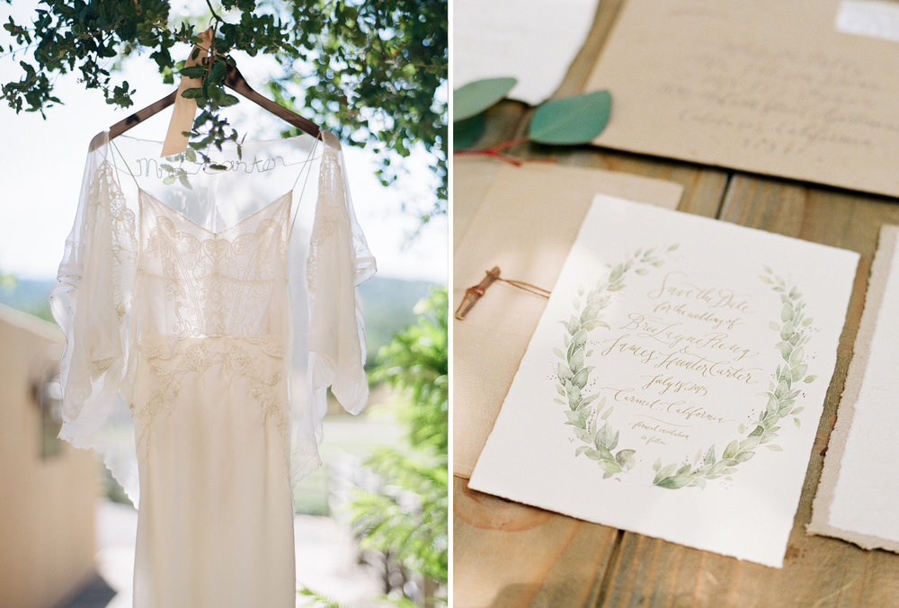 Lace wedding gown hangs from a tree, rustic invitations painted with wreaths; Sylvie Gil Photography