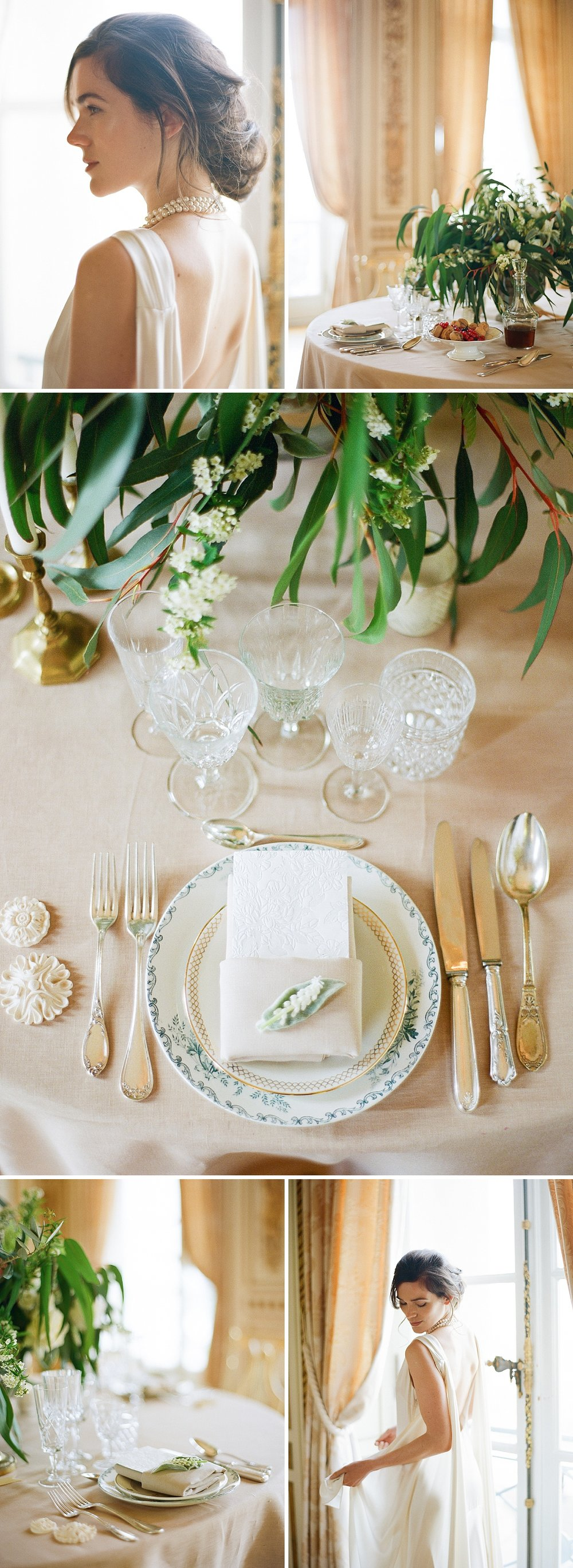 Timeless vintage French reception place settings; Sylvie Gil Photography