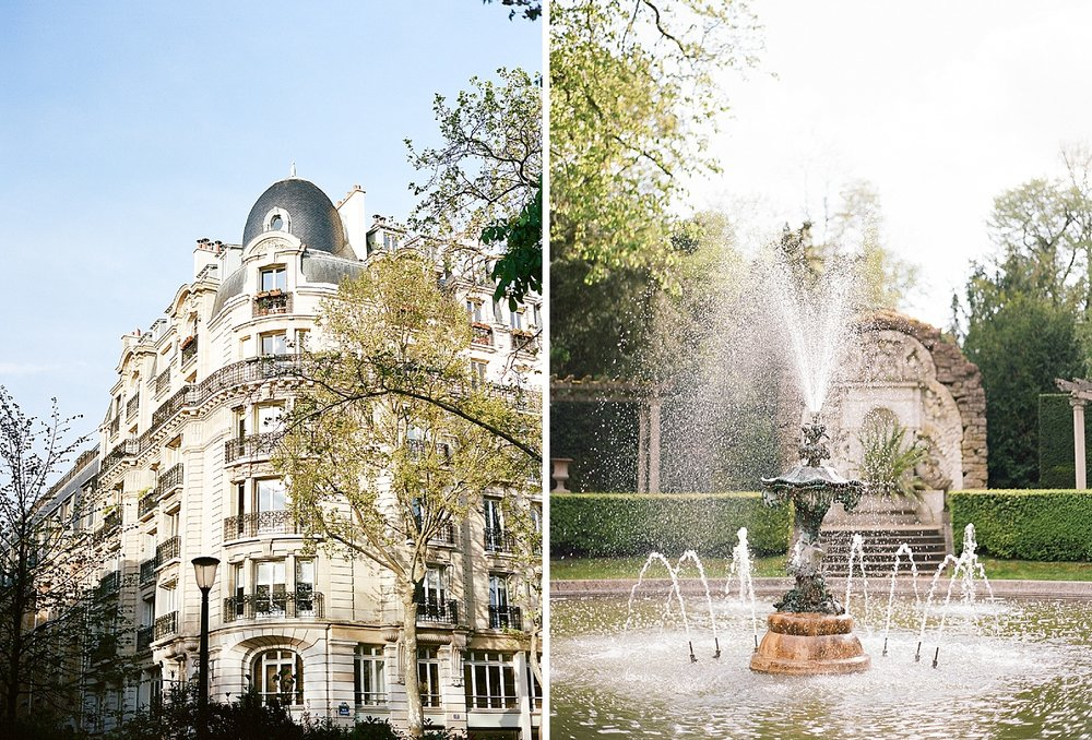 Parisian buildings and an ornate fountain in the Pavillon de la Musique gardens; Sylvie Gil Photography