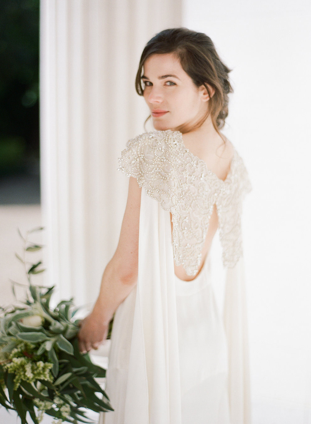 Cortana wedding gown with shoulder capes and a sequin embroidered bolero - vintage French style; Sylvie Gil Photography
