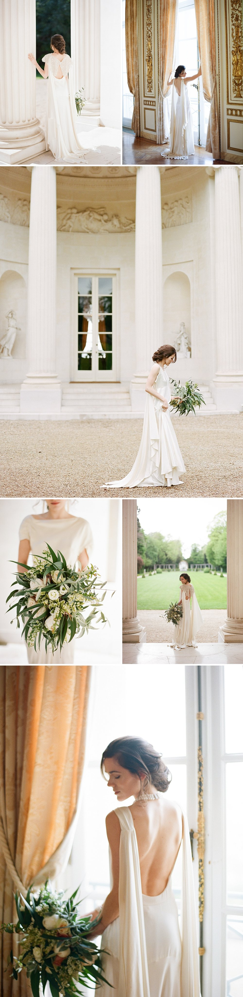 The bride in an elegant double shoulder train gown and leafy summer bouquet; Sylvie Gil Photography