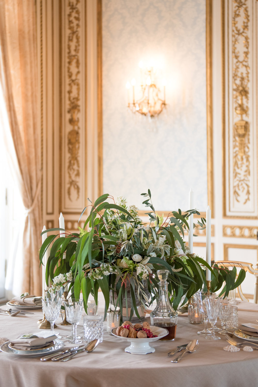 Opulently set reception table in Pavillon de la Musique ballroom matches classic vintage French aesthetic; Sylvie Gil Photography