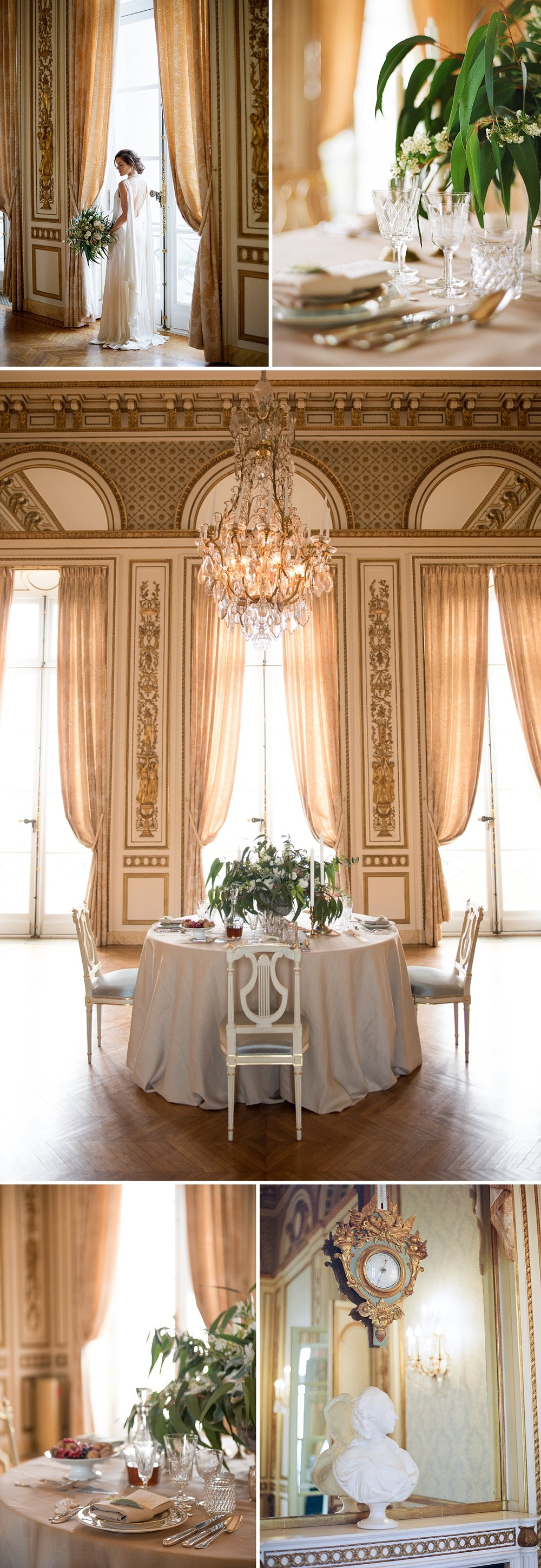 The gilt ballroom is a luxurious and opulent setting for a classic French reception; Sylvie Gil Photography
