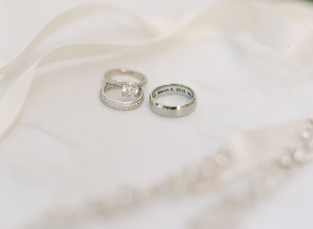 Bride's wedding and engagement rings before Montego Bay, Jamaica wedding; Sylvie Gil Photography