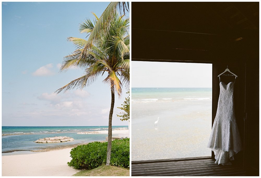 Modern Trousseau gown hangs in a beachside cabana in Montego Bay, Jamaica; Sylvie Gil Photography