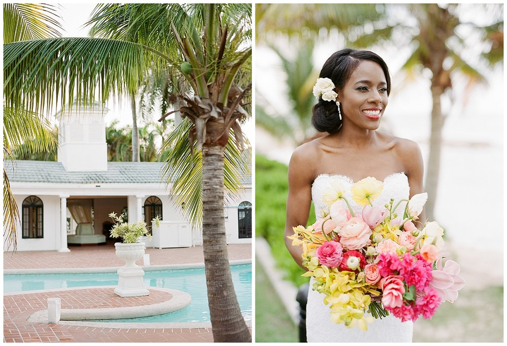 Hotel pool at Half Moon, Montego Bay, Jamaica and the bride before the ceremony; Sylvie Gil Photography