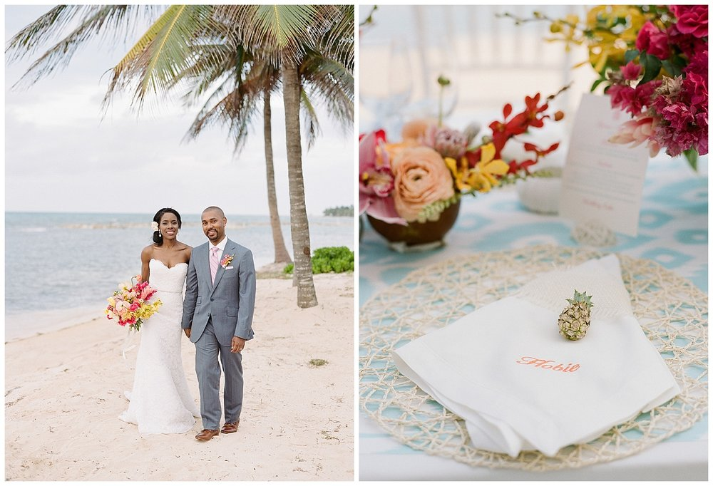 Bright tropical accents and florals make up reception table settings; Sylvie Gil Photography