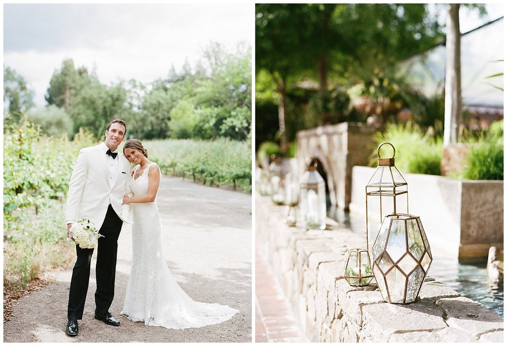 Bride and groom before the Vintage Estates, Yountville, CA wedding; Sylvie Gil Photography