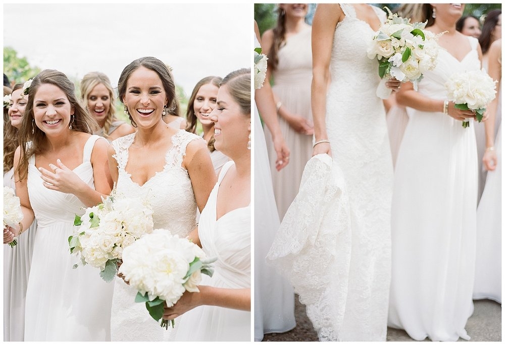 Bride with her bridal party wearing Monique Lhuillier gowns before the wedding in Napa Valley; Sylvie Gil Photography