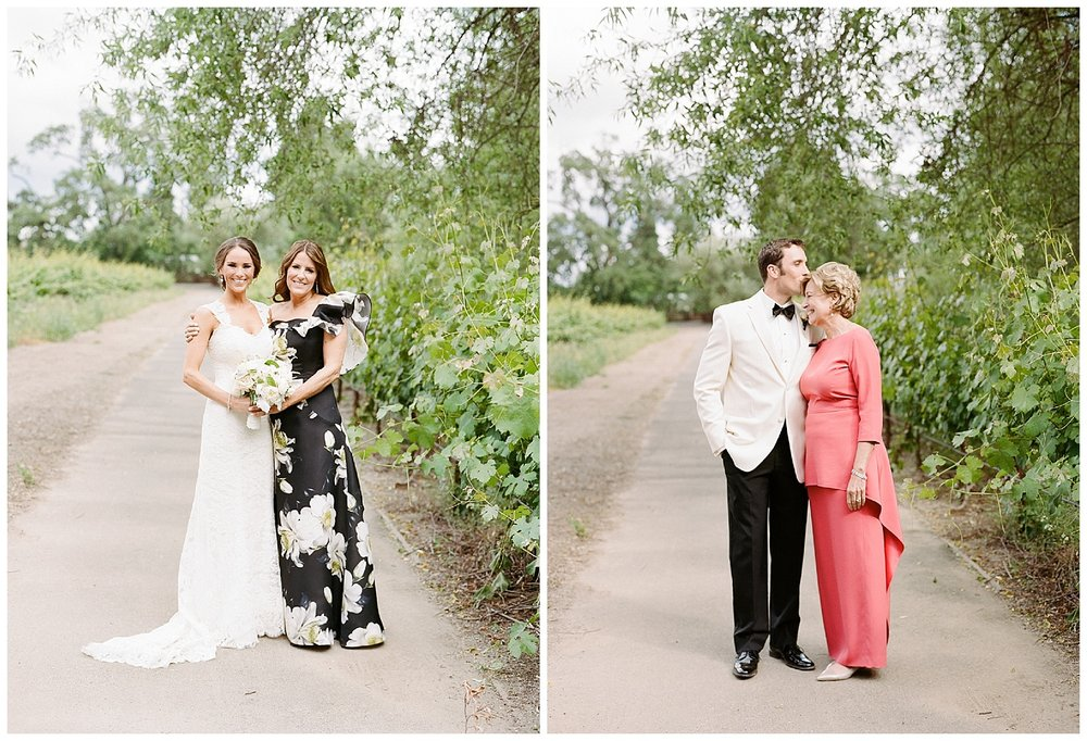 Bride and groom each pose with their mothers in the vineyards of Vintage Estate, Yountville before the wedding; Sylvie Gil Photography