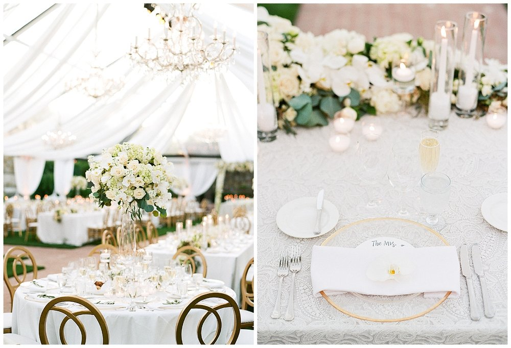 Tall white floral centerpieces and white and gold-trim table settings at Vintage Estates wedding reception; Sylvie Gil Photography