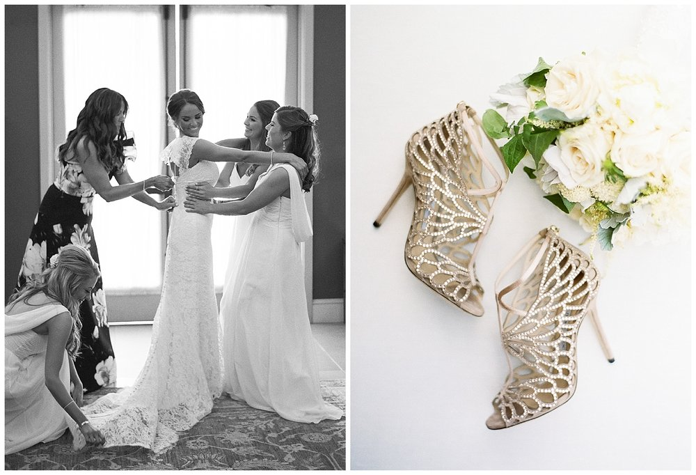 Bride getting ready with help of bridesmaids, Jimmy Choo heels and white bouquet; Sylvie Gil Photography