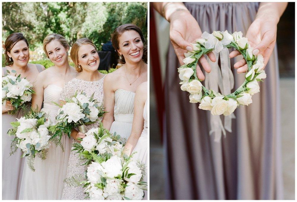 Bridesmaids hold matching bouquets in champagne dresses; Sylvie Gil Photography