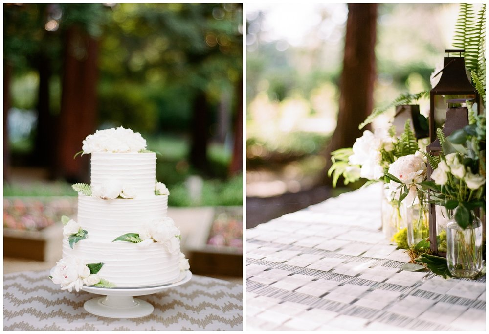 Three tier white floral cake and chevron tablecloths at the outdoor reception in Woodside, California; Sylvie Gil Photography
