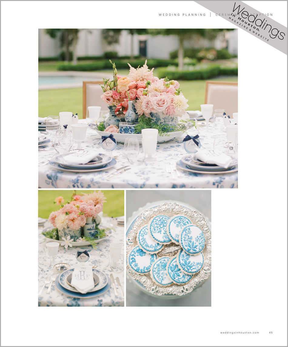 Table settings for 'A Southern Fete' in Weddings in Houston; Sylvie Gil Photography