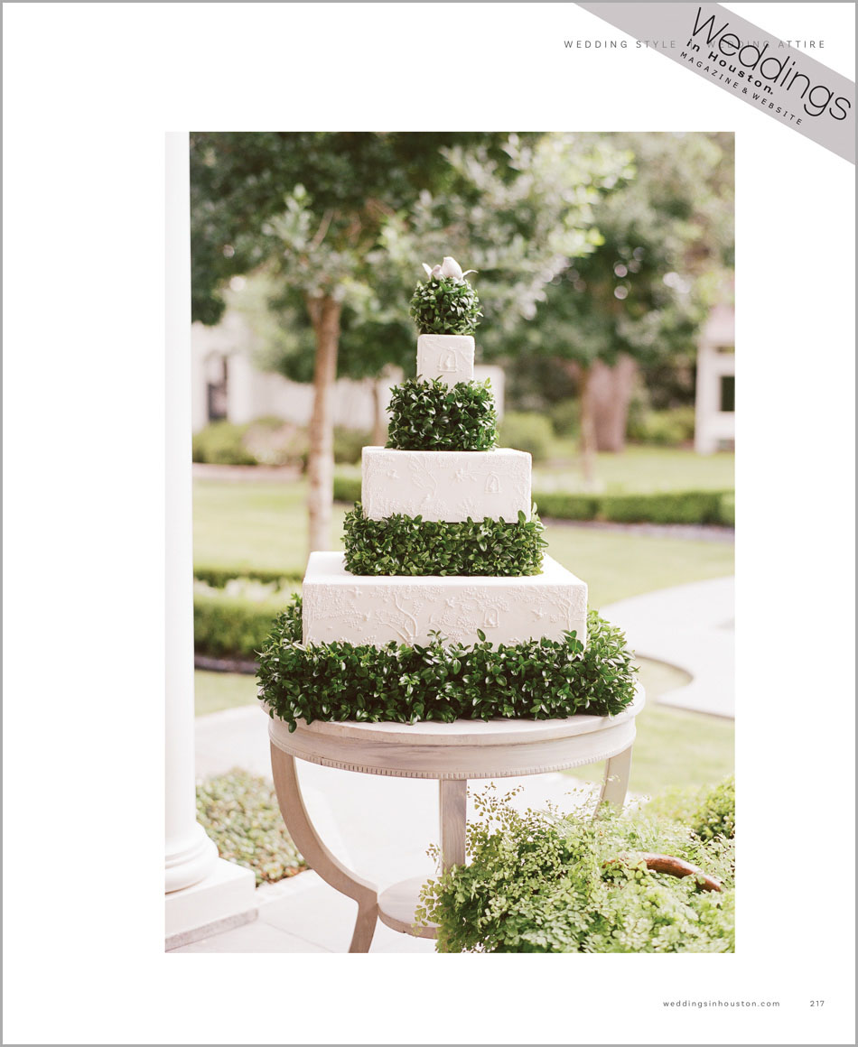 Cake for 'A Manor of Style' featured in Weddings in Houston; Sylvie Gil Photography