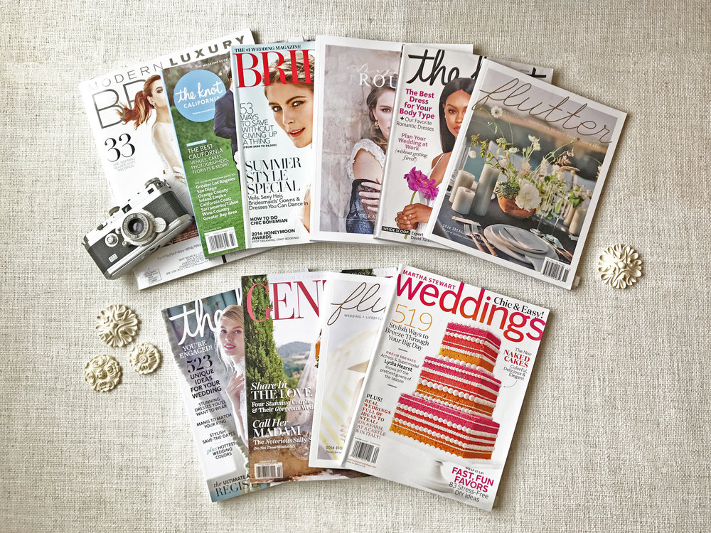 Ten magazines featuring Sylvie Gil Photography in 2016, including Martha Stewart Weddings, The Knot, and Flutter Magazine.