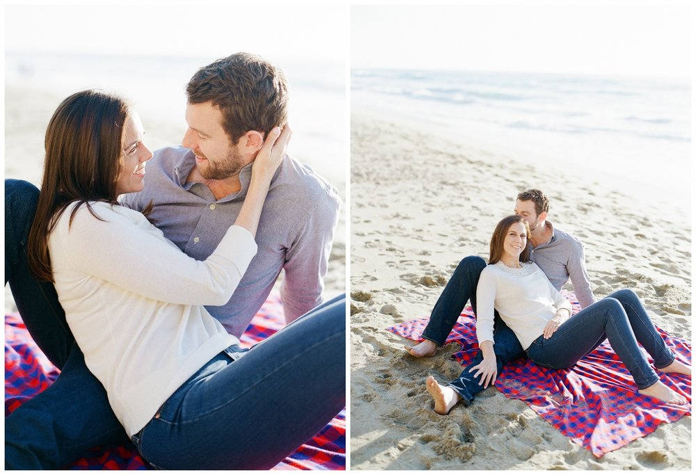 Couple during engagement photo shoot on Northern California beach; Sylvie Gil Photography