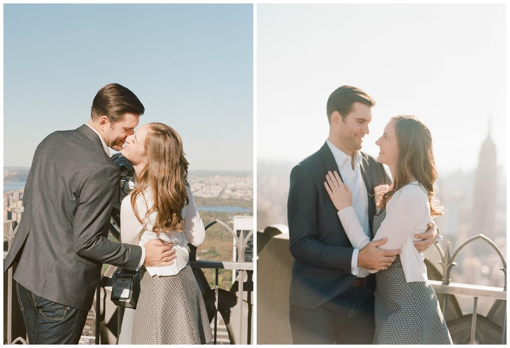 An engagement photoshoot couple session on the roof of a New York skyscraper; Sylvie Gil Photography