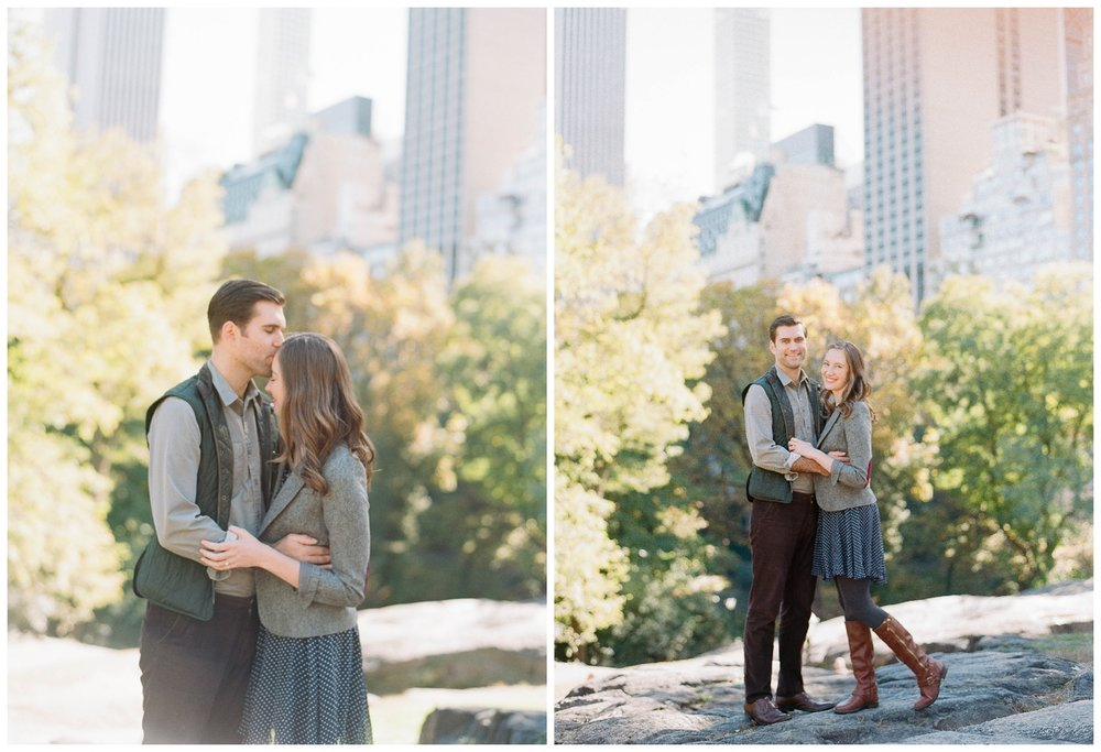 Couple kisses during engagement session in late summer, Central Park in New York City; Sylvie Gil Photography