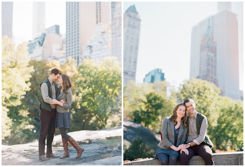Couple  during an autumn engagement session in Central Park, New York City; Sylvie Gil Photography