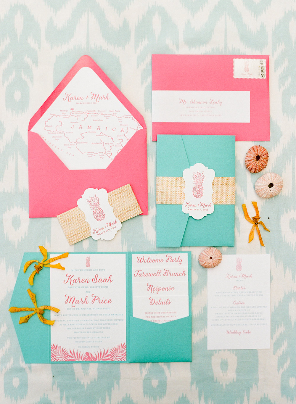Bright pink and teal invitation suit with pineapple motif and seashell accents; Sylvie Gil Photography