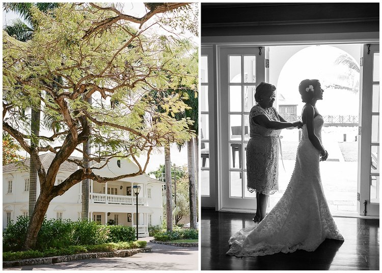 Jamaican colonial hotel buildings, bride's mother helps her get ready for the ceremony; Sylvie Gil Photography
