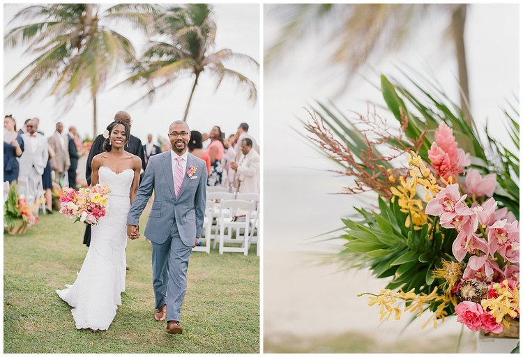 Bright, colorful orchids in bride's bouquet, just married in Montego Bay, Jamaica; Sylvie Gil Photography