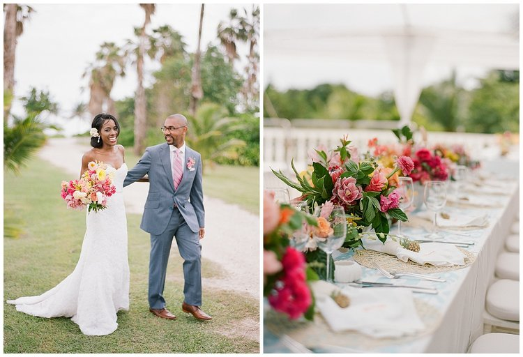 Wicker placemats, ikat table cloths and local tropical blooms at Montego Bay wedding reception; Sylvie Gil Photography