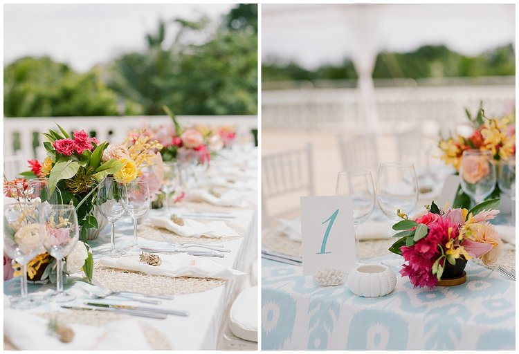 Reception tables decorated with wicker placemats, local colorful bloom centerpieces; Sylvie Gil Photography