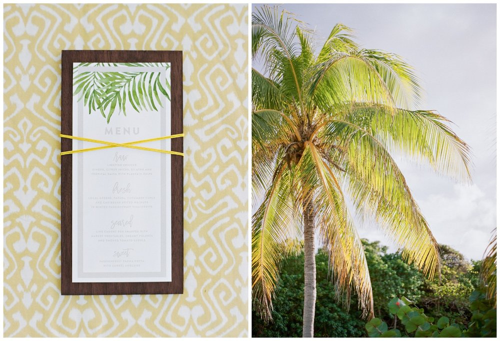 Menu card and palm tree for Jamaican tropical bride style shoot; Sylvie Gil Photography