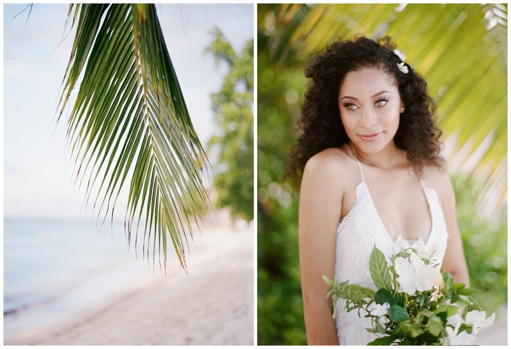 Natural hair bride with hibiscus bouquet on the beach at Montego Bay, Jamaica; Sylvie Gil Photography