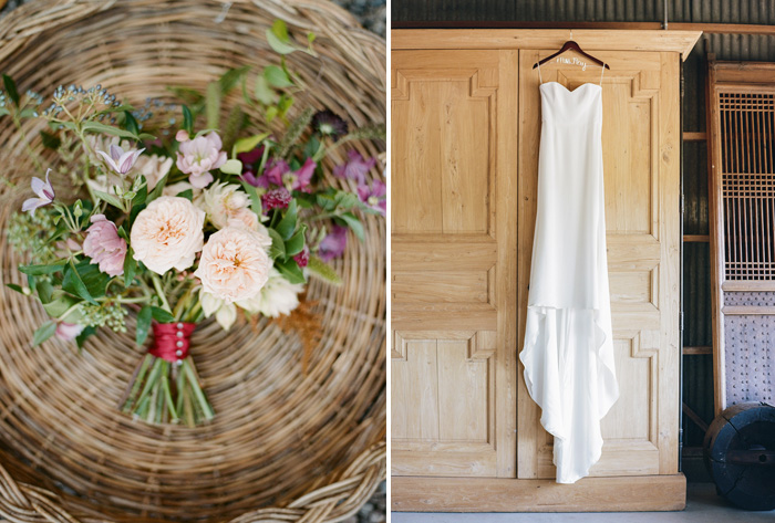 Tali's bohemian bouquet sits in a wicker basket, her gown hangs from a monogrammed hanger; photo by Sylvie Gil