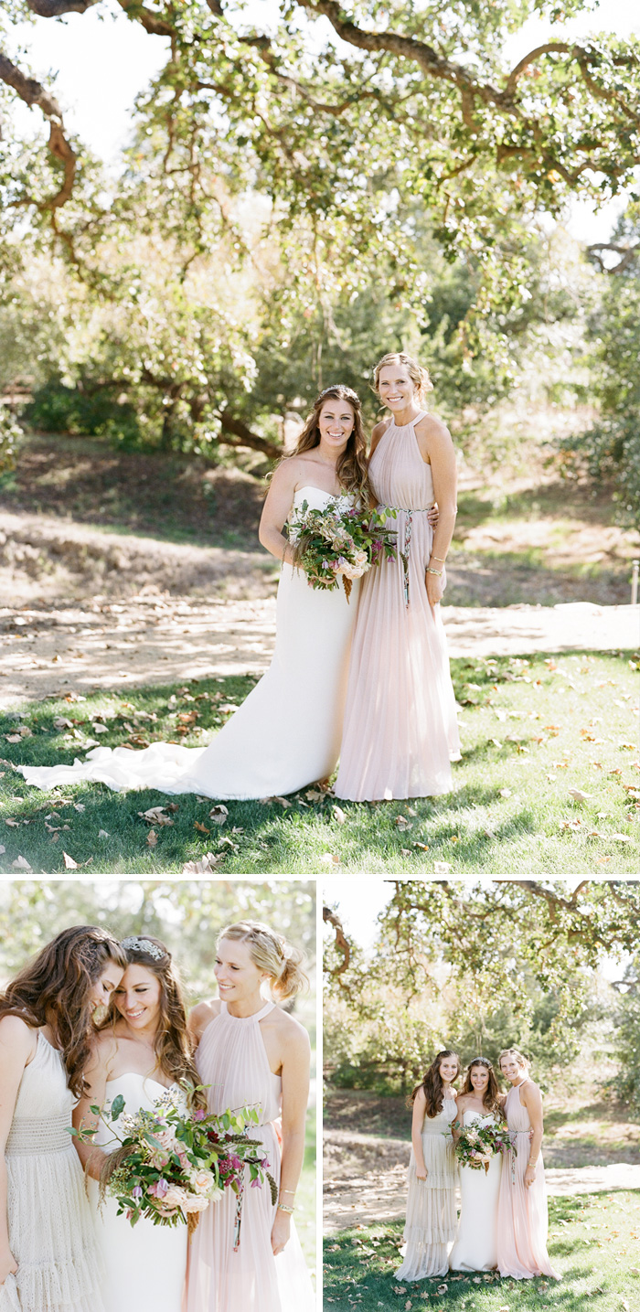 Tali and her bridesmaids, and sister, sharing a sweet moment bathed in ethereal sunlight before the ceremony; photo by Sylvie Gil
